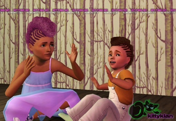 Afropunk frohawks with irregular cornrows hairstyle by robokitty for Sims 3