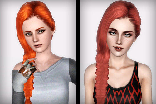 Side fishtail hairstyle Skysims 179 retextured by Forever and Always for Sims 3