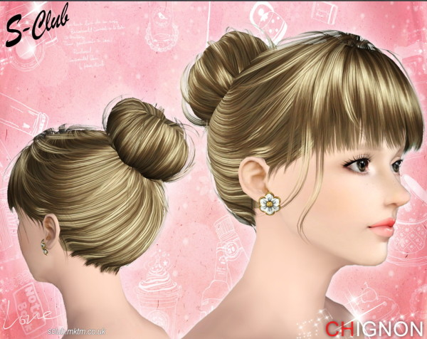 Bun on neck with bangs by S Club Privee for Sims 3