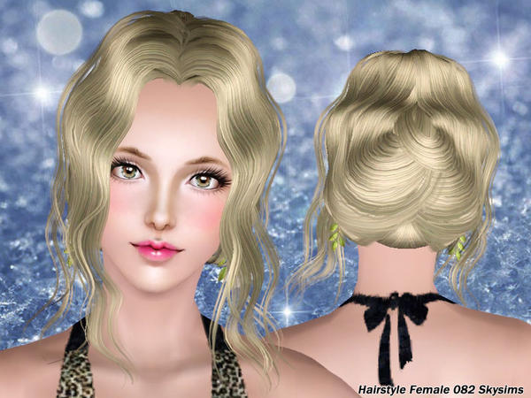 Waved chignon hairstyle 082 by Skysims for Sims 3
