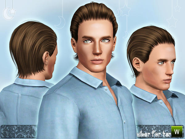 Slicked back hairstyle 01 by Ulker for Sims 3