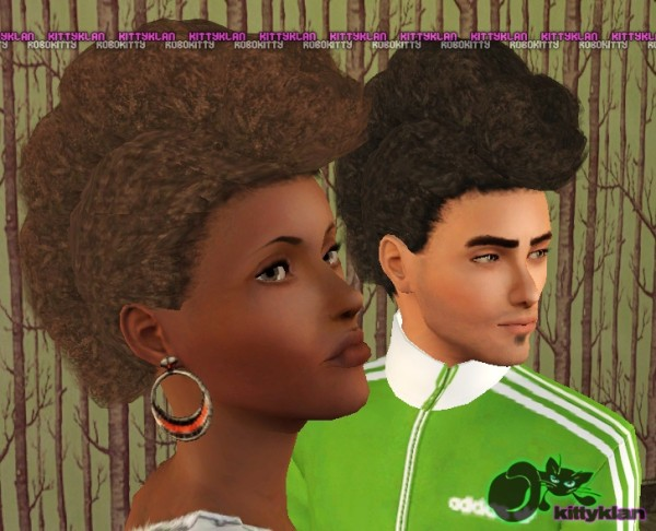 Brushed back frohawks hairstyle by robokitty for Sims 3