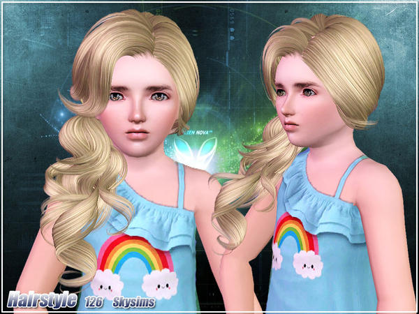 Natural side curls  hairstyle 126 by Skysims for Sims 3