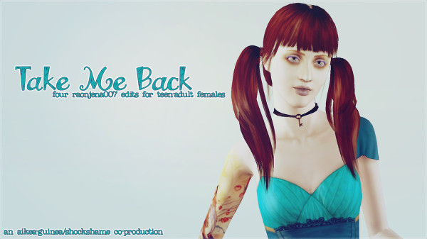 Aikea guinea`s hairstyles retextured by Shock and Shame for Sims 3