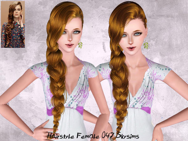 Dimensional side fishtail hairstyle 047 by Skysims for Sims 3