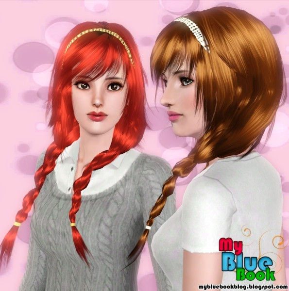 Braids with headband hairstyle Peggy`s 80905 retextured by TumTum Simiolino for Sims 3