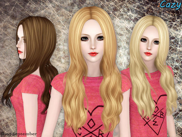 Perfectly parted September hairstyle by Czay for Sims 3