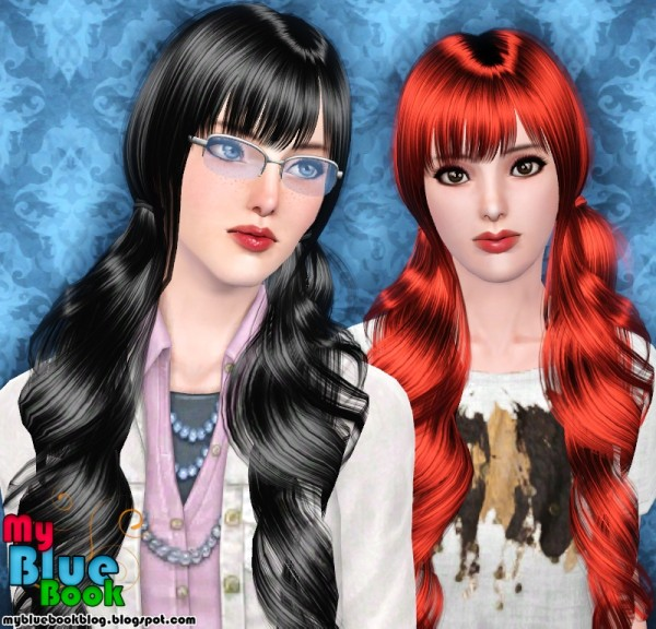 Two dimensional ponytails with bangs Raon 27 retextured by TumTum Simiolino for Sims 3