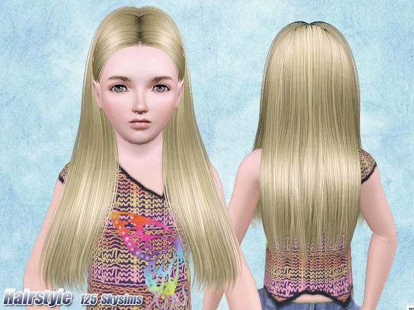 Dimensional middle part hairstyle 125 by Skysims for Sims 3
