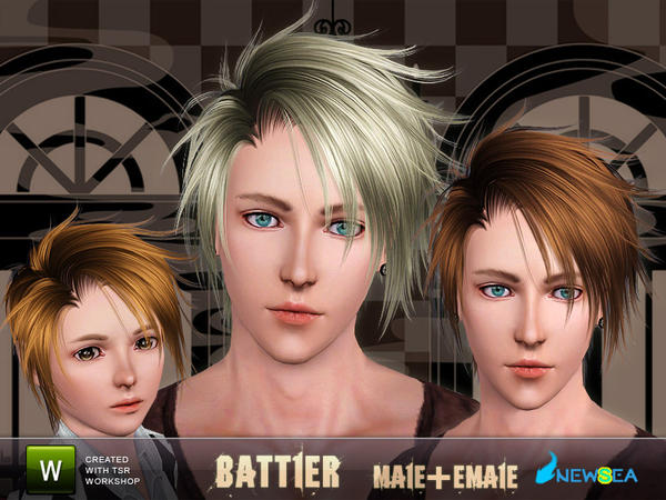 Battler Erratic hairstyle by NewSea for Sims 3
