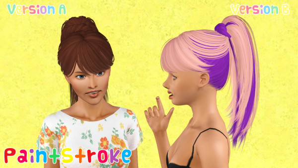 Bohemian ponytail hairstyle Skysims 122 retextured by Katty for Sims 3