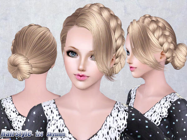 Strange Medieval Braided Bun Hairstyle 124 By Skysims Sims 3 Hairs Short Hairstyles For Black Women Fulllsitofus