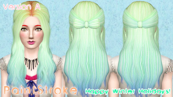 Half up half down with bow hairstyle Cazy`s Promise retextured by Katty for Sims 3