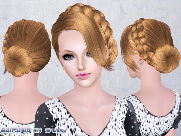 Hairstyles Braids Download: Medieval Braided Bun Hairstyle 124 By Skysims