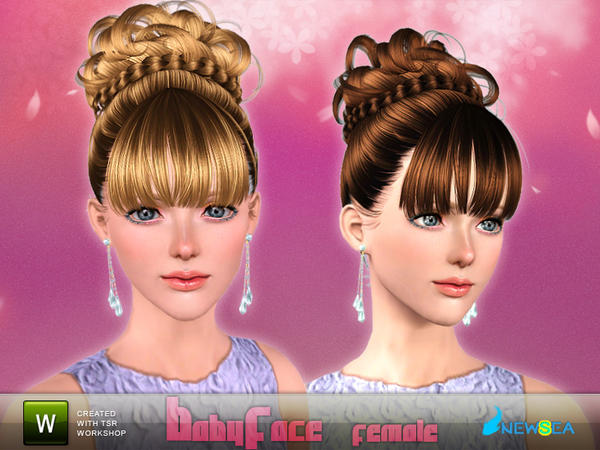 Super Braided Crown Chignon Hairstyle Baby Face By Newsea Sims 3 Hairs Short Hairstyles For Black Women Fulllsitofus