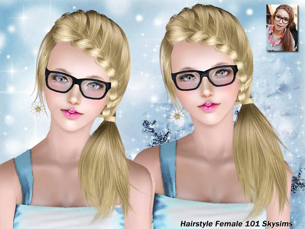 Side braid ponytail hairstyle 101 by Skysims for Sims 3
