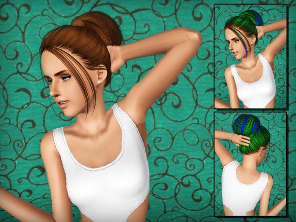 High wrapped pigtail Skysims 111 Hairstyle retextured by Forever and Always for Sims 3