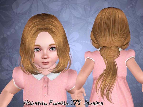 Thin ponytail with middle part bangs hairstyle 079 by Skysims for Sims 3
