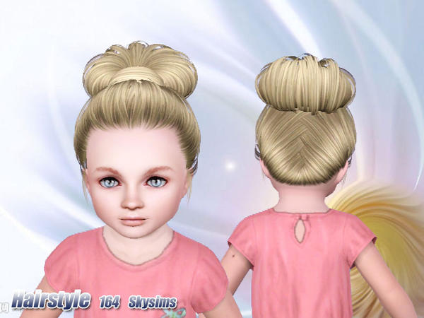 Wrapped topknot hairstyle 164 by Skysims for Sims 3