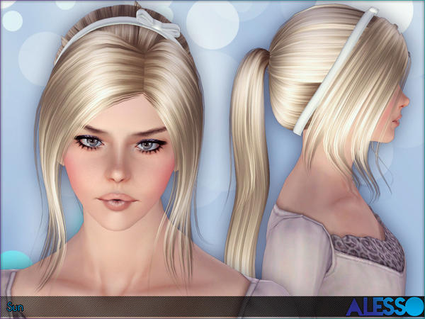 Bun With Satin Headband Hairstyle Sun By Alesso Sims 3 Hairs