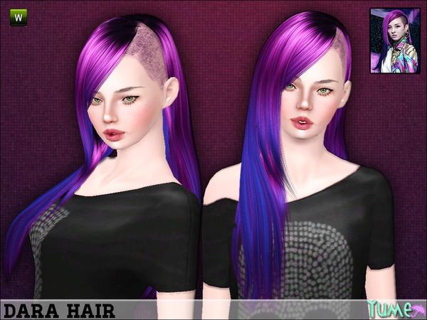 Yume Dara shaved hairstyle by Zauma for Sims 3