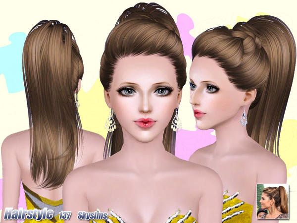 Top ponytail hairstyle 137 by Skysims - Sims 3 Hairs