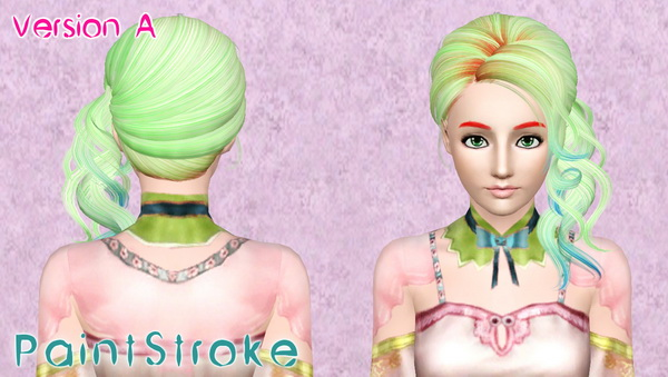 Curly chignon hairstyle NewSea`s Picnic retextured by Katty for Sims 3