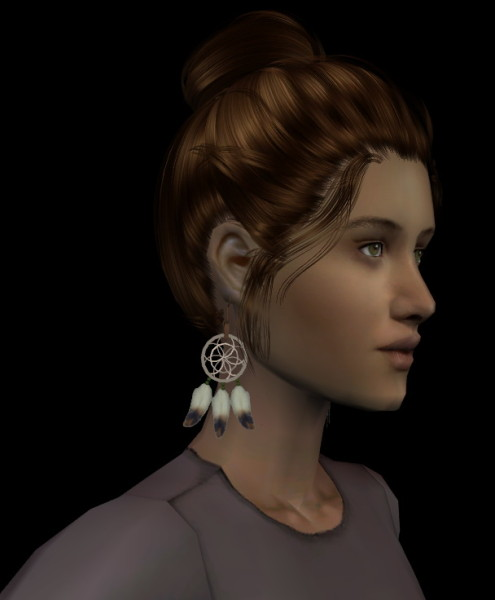 High chignon hairstyle retextured by Fanaskher for Sims 3
