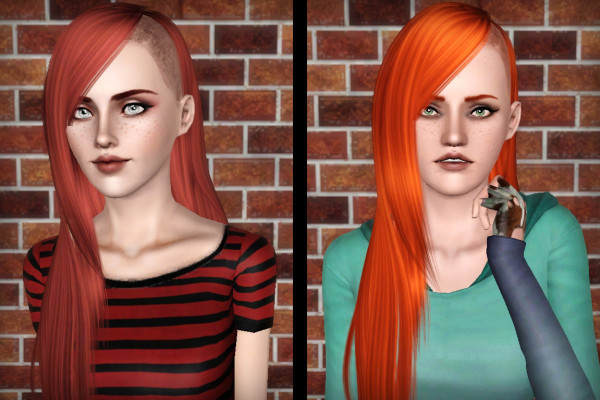 Zauma 24 Half shaved hairstyle retextured by Forever and Always for Sims 3