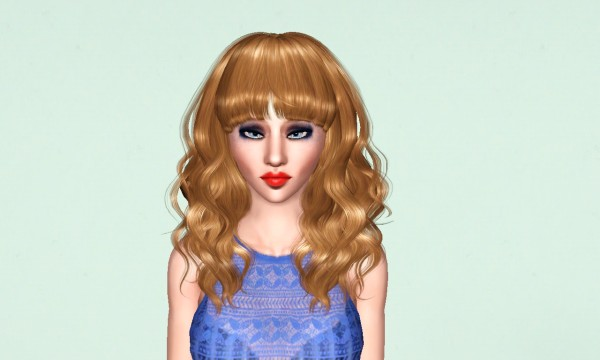 Curly hair with straight bangs Peggy`s 885 retextured by Marie Antoinette for Sims 3