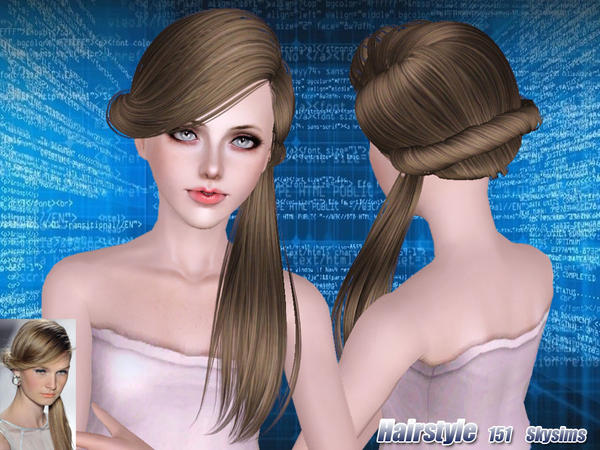 Fancy ponytail hairstyle 151 by Skysims for Sims 3