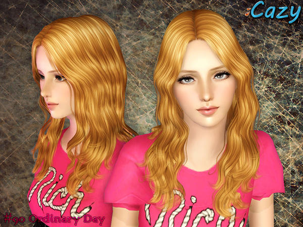 Thin waves hairstyle Ordinary Day by Cazy for Sims 3