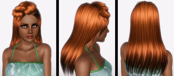 Pretzel hairstyle ButterflySims Hair 079 retextured by Forever and Always for Sims 3