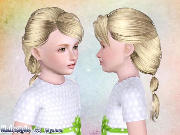 Fun ponytail with side bangs hairstle 175 by Skysims for Sims 3