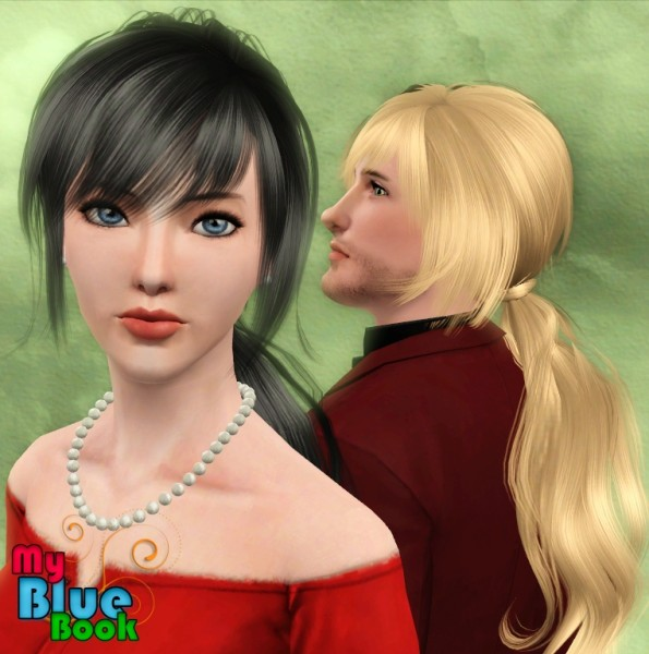 Wrapped large ponytail Anto`s 52 retextured by TumTum Simiolino for Sims 3