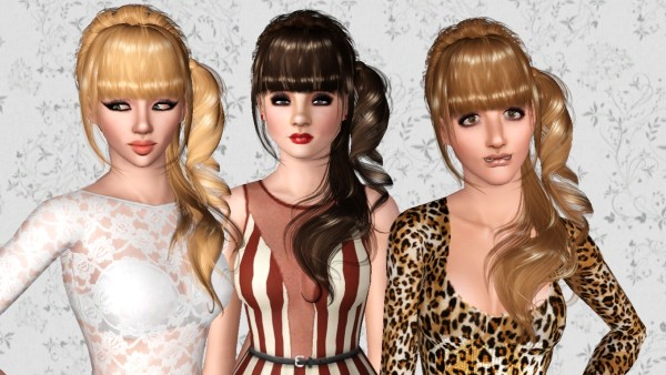 Curly ponytail in the side hairstyle Peggy`s 89 retextured by Marie Antoinette for Sims 3