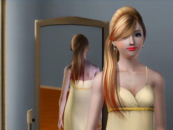 Anto`s 29 Side ponytail with bangs hairstyle retextured by Savio  for Sims 3