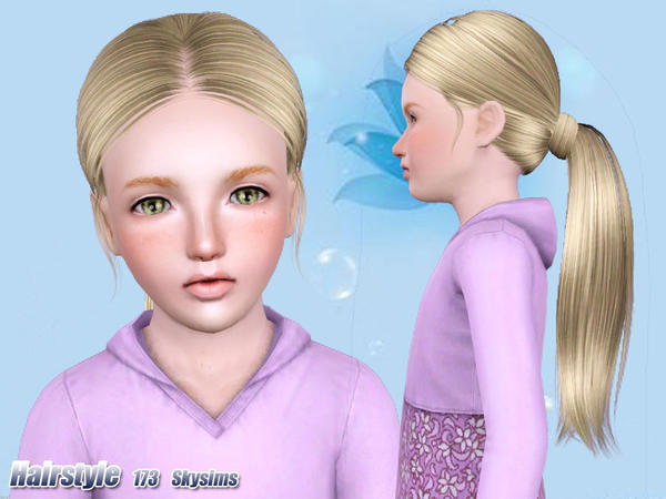 High wrapped ponytail hairstle 173 by Skysims for Sims 3