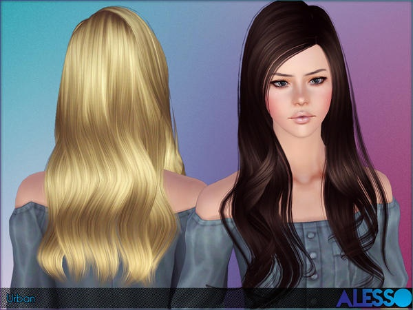 Urban slightly curled tips hairstyle by Alesso for Sims 3