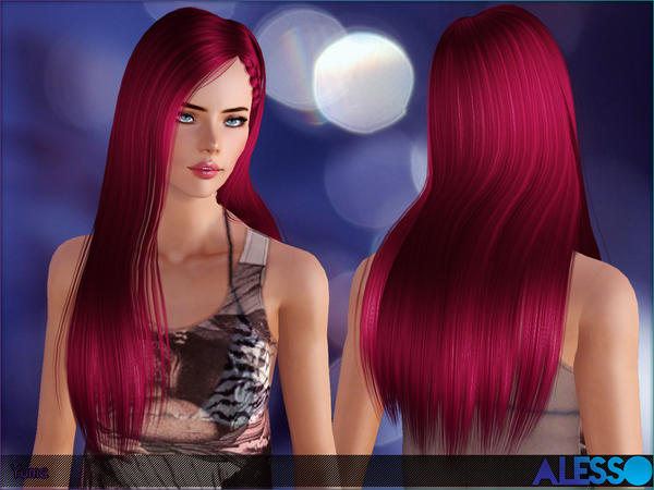 Braided side hairstyle Yume by Alesso for Sims 3