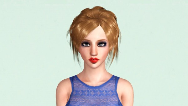 French bun with middle bangs Flora 09 retextured by Marie Antoinette for Sims 3