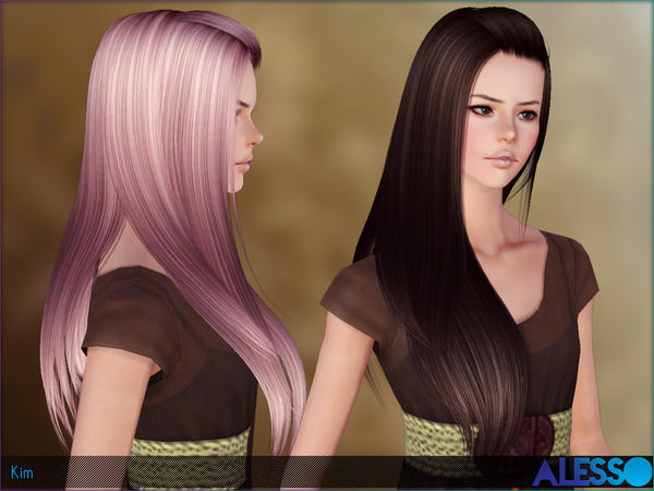 Hairstyles Video Download : Super staight with caught bangs hairstyle Kim by Alesso - Sims 3 Hairs