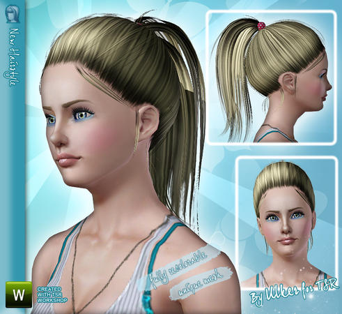 High ponytails hairstyle 04 by Ulker for Sims 3