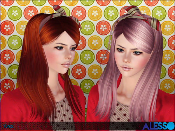 Yuna scarf hairstyle by Alesso for Sims 3