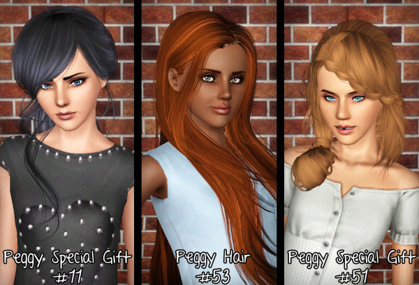 Peggy`s 11, 53 and 51 hairstyles retextured by Forever and Always for Sims 3