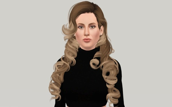 Medieval curls hairstyle NewSea`s SkyScraper retextured by Fanaskher for Sims 3