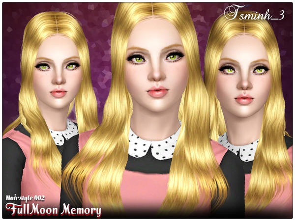 Straight hairstyle with middle parth Full Moon Memory 002 by Tsminh for Sims 3