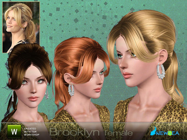 Middle parth bangs ponytail hairstyle Brooklyn by NewSea for Sims 3