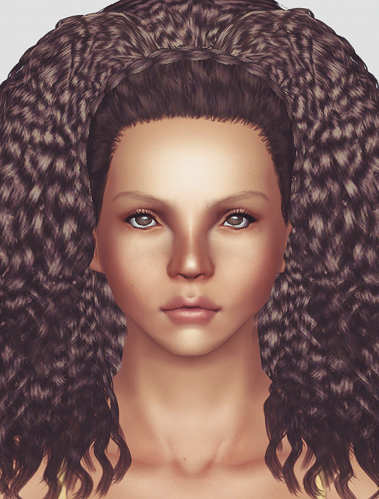 Nouk's Kinky Curly with braid hairstyle retextured by Momo for Sims 3