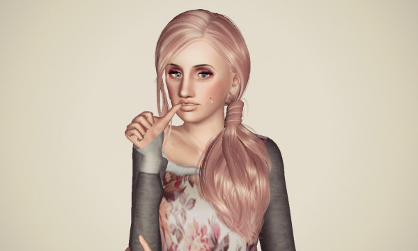 Side ponytail hairstyle SkySims 042 retextured by Marie Antoinette for Sims 3